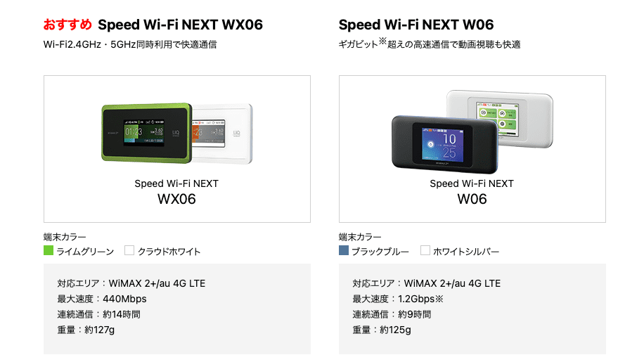 WiMAXおすすめ機種「WX06」